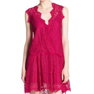 Free People Lace Magenta Dress Small